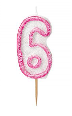 Number Six Pink Glitz Birthday Cake Candle